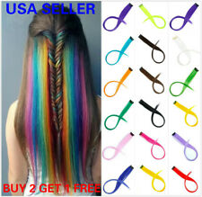 "5 X 22"" Real Natural as human Hair Multi Color Clip In Hair Extensions Rainbow"