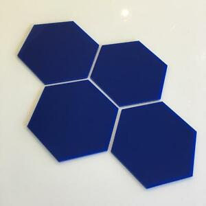 "Blue Gloss Acrylic Hexagon Crafting Mosaic/Wall Tiles, Sizes: 1cm-20cm, 1""-7.9"""