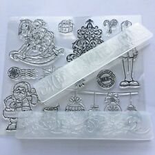 Card Making Embossing Folders & Stamp set Merry Christmas - 12 Rubber Stamps