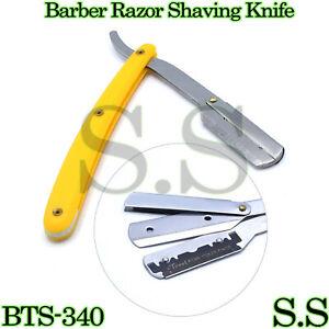 Barber Razor Straight Shaving Edge Knife Yellow Folding Handle BTS-340