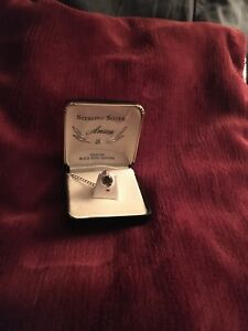 VINTAGE STAR SAPPHIRE AND STERLING SILVER ANSON TIE TACK IN ORIGINAL BOX