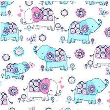 Tallulah - Baby Elephant Walk - White - 100% cotton Fabric