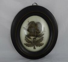 Antique French Mourning Hair Art Memento Convex Glass Framed Reliquary