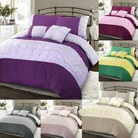 Luxury Pintuck Quilt Duvet Cover Bedding Set Single Double Super King Size