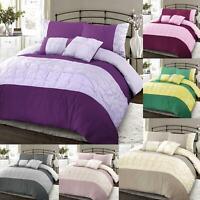 Luxury Pintuck Quilt Duvet Cover Bedding Set Single Double Super King Size