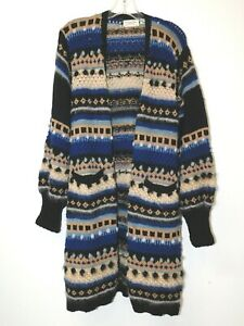 Christian Dior 100% Wool Blue/Black Patterned Knit Cardigan