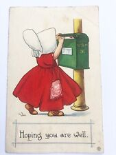 Postcard Bernhardt Wall Hoping You Are Well Girl at US Mail Box 1 cent stamp P2