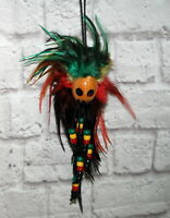 Vtg Wood Mask and Feather Beads Ornament Hanging Car Mirror Decor Tribal Tiki