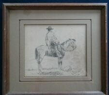 Bill Bender Orig Pen Pencil Drawing Listed American Western Artist Signed