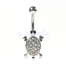 Sexy Beauty Turtle Piercing Body Crystal Dangle Navel Belly Button Ring Bar K6