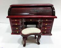 Escritorio buró con taburete casita muñecas  dollhouse