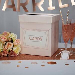 Rose Gold & Pink Wedding Card Post Box - Geo Blush Cards Holder