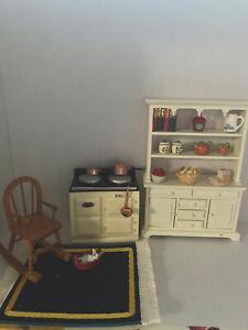 Dolls House Kitchen Dresser, Stove, Rocking  Chair & Accessories