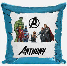 Personalised Avengers Design Any Name Magic Reveal Blue Sequin Cushion Cover 2