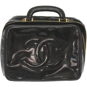 Auth CHANEL Vanity Bag Patent leather Black color U2606EILE5