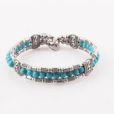 Damen Retro Türkis Feder Gypsy Bohemian Armband Armreif Armbänder Modeschmuck SO