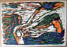 """TWO MERMAIDS"" by Ruth Freeman WOODCUT 10 1/4"" X 14 3/4"""