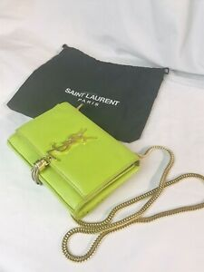 YSL Yves Saint Laurent small green leather shouder bag