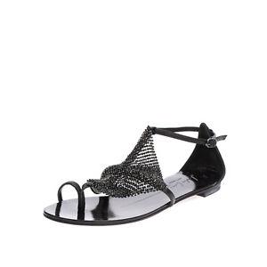 RRP €150 LOLA CRUZ Leather Thong Sandals Size 36 UK 3 US 6 Rhinestones Toe Ring