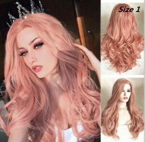 """Glueless Lace Front Wig 24"""" Long Wavy Real Natural Full Wigs Light Pink Full Wig"""