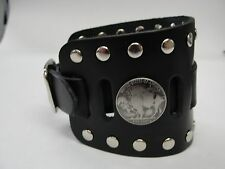 WIDE LEATHER BIKER PUNK GOTH WATCH BAND CUFF BRACELET W/BUCKLE USA MADE MANZOOR