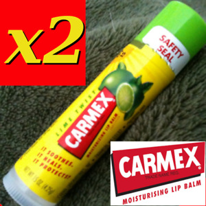 2 X CARMEX MOISTURISING LIP BALM, LIME TWIST   .