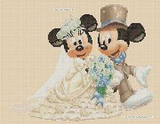 Tabla de puntada cruzada de Disney-Mickey Mouse & Minnies Boda Crema FLOWERPOWER 37