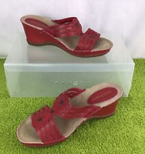 Hush Puppies Ladies Red Leather Wedge Sandal Size 5