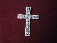 "18KT WHITE GOLD CROSS WITH 1.35 CARAT IN DIAMONDS  3.6g 1 1/4"" H  x 1"" W"