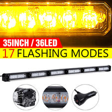 "36LED 35"" Emergency Warning Traffic Advisor Beacon Strobe Light Bar Amber Yellow"