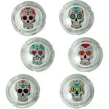 2x Glas-Aschenbecher Totenkopf Coloured Skull ca. 8x4 cm 6-fach sortiert Ø 8 cm