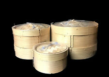 2 Tiers Bamboo Steamer Set w Two Layers and One Lid  Home Kitchen Cookware 3Size