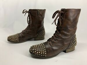 Steve Madden Tarnney Boot Brown Leather With Gold Spikes Grunge Combat Women's 9