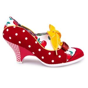 Irregular Choice Force of Beauty Red Yellow Beige Polka Dot Heel Lace Up Shoe