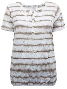 LADIES Gina Benotti WHITE Stripe Crinkle Effect Short Sleeve Top size 18/20