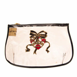 CRISTINA SANTANDREA JEANS Clutch Bag Embroidered Patch Zipped Made in Italy