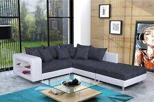 Modernes Sofa Couch Ecksofa Eckcouch in schwarz / weiss mit Hocker  - Dresden R
