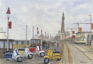 The Italian Job - Visits Blackpool - Scooter, Vespa, Lambretta Print