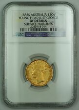 1887-S Australia 1 Gold Sovereign Young Head & St. George NGC XF Details AKR