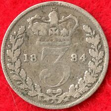 GREAT BRITAIN - 3 PENCE - 1884 - 92.5% SILVER - 0.0420 ASW