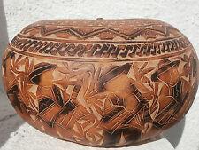 Ancienne boite perou courge calebasse sculptée old peruvian box