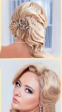 Bridal Crystal & Pearl Wedding Proms Hair Vine Headband Tiara Crown silver Gold