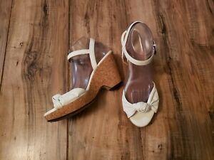 INDIGO by Clarks Women's Knotted Cork Platform Wedge Sandals-White Leather 9.5