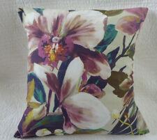 "16"" Cushion Cover Purple Pink Green Flower Print Handmade 40cm"