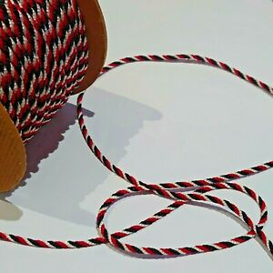 12 MTRS OF 3.5MM TRI COLOURED BLACK/WHITE/RED SATIN TWIST CORD