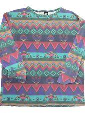 Vintage Basic Editions Southwestern Teal Purple Long Sleeve Shirt Size M