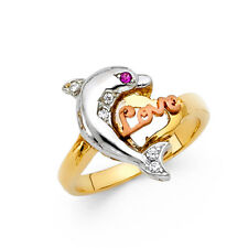 Women 14k Yellow White Rose Real Gold CZ Love Dolphin Fashion Ring Band