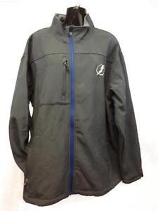 New Tampa Bay Lightning MENS Adult Size XL-2XL Gray Hard Shell Full Zip Jacket