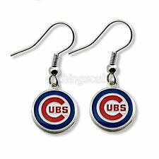 Chicago Cubs Pewter Team Logo Enamel Charm Pendant Silver French Hook Earrings