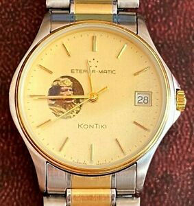 Vintage Rare Muammar Gaddafi Award Eterna Matic KonTiki Gold Plated Men`s Watch